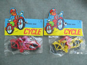 Vintage 1960s-1970s Plastic Dime Store Toy Motorcycle Lot 2 Near Mint Sealed