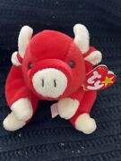 Ty 1995 Collectible Andldquosnortandrdquo Red Bull Beanie Baby