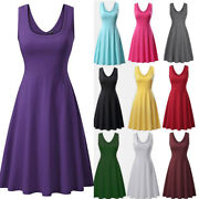 Womens Summer Crew Neck Tank Dress Loose Party Casual Solid Comfy Midi Dresses