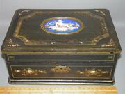 Antique Victorian Wood Lacquer Mother Of Pearl Inlay Jewelry Trinket Box