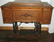 Vintage Eldredge Cast Iron Treadle Base Wooden Drawers Sewing Table With Machine
