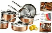 Martellata Hammered Copper 18/10 Tri-ply 10-piece Set Copper Set With Ss Lid