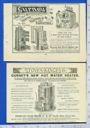 Two Original Antique 1887 And 1892 Gurney Hot Water Heaters Print Ads