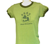 Womens Juniors David And Goliath Peas On Earth Green Ringer Novelty Tee T-shirt