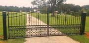 Wrought Iron Style Steel Driveway Entry Gate 13and039 Wd Home Yard Garden Security