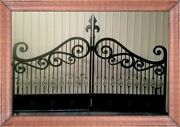 Wrought Iron Style Steel Driveway Entry Gate 14and039 Wd Home Yard Garden Security