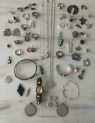Vintagenow Sterling Silver 925 14k Gold Jewelry Lot Native American Turquoise