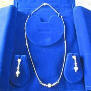22k Gold Necklace Set 3p Solid Gold Diamond Cut Necklace Earrings New From India