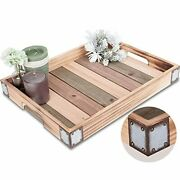 Wood Rustic Decorative Serving Tray With Rustic Metal Corner Farmhouse Natural
