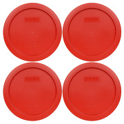 Pyrex 7201-pc 4 Cup Dark Red Round Plastic Lid 4pk New For Glass Bowl