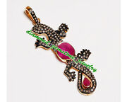 925 Sterling Silver Rose Cut Diamond And Ruby Antique Style Lizard Shape Pendant