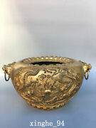 13.2 Old Antique Ming Dynasty Xuanded Bronze Gilt Double Dragon Incense Burner