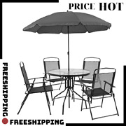 _hot_ Flash Furniture 6 Piece Patio Garden Set With Umbrella, Table, 4 Chairs