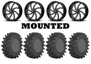 Kit 4 Sti Outback Max Tires 33x9-20 On Msa M36 Switch Black Wheels Can