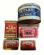 Lot Of 5 Vintage Tea Tins Swee Touch Nee Tetley Chinese