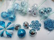30 Piece Metallic Silver And Blue Variety Shape Christmas Ornaments