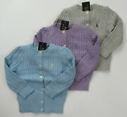 Nwt Girls Mini Cable Cotton Cardigan Sweater Sz 7 8/10 S M New 50
