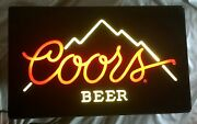 Vintage Coors Beer Bar Lighted Sign. Mountain Outline. 1985.  Large 25 X 15