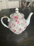 Lefton China Pink Hand Painted Tea Pot And Lid
