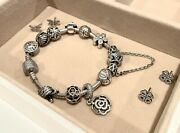 Authentic Pandora Bracelet 7.5'' With 12 Authentic Sterling Silver 925 Charms