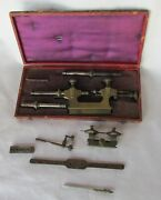 Old French Pivot Lathe + Other Clockmaker Tools Lot Used In Box