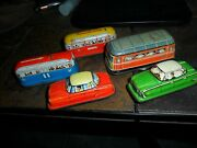 5 Lot Vintage Bus And Car Western Germany Friction Tin Toy Wind Up