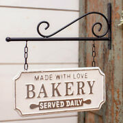 New Farmhouse Vintage Kitchen Double Sided Bakery Sign Wall Bracket Hanging