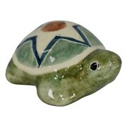 Shearwater Pottery 2016 Hand Painted Green Turtle Figurine