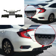 Abs Black Rear Bumper Lip 4-outlet Pipe Bodykit 1.5t For Honda Civic 2016-2021