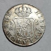 Madrid Mint 1807 2 Reales Silver Coin Spain Colonial Quarter 5.87g High Grade Rr