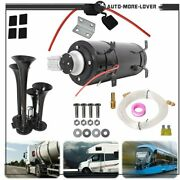 Train Horn Kit With 150 Psi Air Compressor For Car Truck Train 150db 4 Trumpet