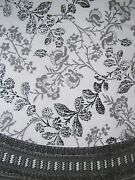 Floral Round Cotton Tablecloth 88 Gray On White