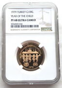 Turkey 1979 Year Of The Child 10000 Lira Gold Ngc Pf68 Coinproof