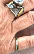 Bailey Banks Biddle 5900 2ct Emerald/diamond 14kt Ygold Eternity Ring Ladies 5