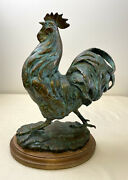 Signed Sandy Scott Rooster Sculpture Itand039s A Beautiful Day 1/50 W/wood Base
