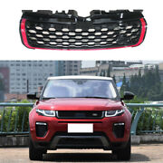 For 2016-2019 Range Rover Evoque Black Red Front Center Mesh Grille Grill Trim