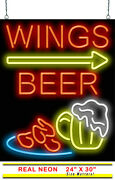 Wings Beer With Right Arrow Neon Sign | Jantec | 24 X 30 | Hot Pizza Bar Pub