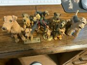 Vintage Cute Large Lot Of Eleven Airedale Dog Figurines With Free Shipping