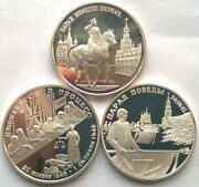 Russia 1995 World War Ii 2 Roubles Set Of 3 Silver Coinsproof