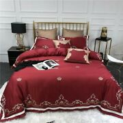 Egyptian Cotton Bedding Set Bed Sheet Crown Embroidery Comforter Duvet Cover