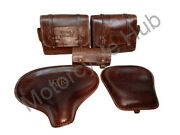 Leather Brown Saddle Bags, Front Rear Seat And Tool Bag For Royal Enfield Classic