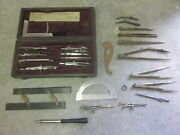 Early Antique Engineer Drafting Set Must See 1876 Compass X2 + More Wow Freesandh