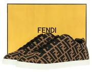 New Fendi Roma Menand039s Zucca Ff Tech Fabric Lace-up Low Top Sneakers Shoes 5/us 6