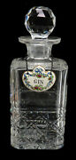Vintage American Cut Crystal Glass Decanter With Porcelain Gin Label