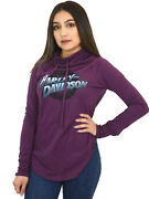 Harley-davidson Womens Ride In Style Purple Long Sleeve Cowl Neck T-shirt
