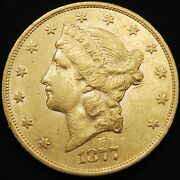 1877-s Us 20 Liberty Head Double Eagle Gold Coin - A412