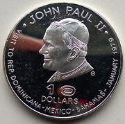 Dominica 1979 Pope John Paul 10 Dollar Silver Coin,proof