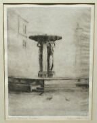 Lillian P. Bain Skidmor Fountain Hand Signed In Pencil Dry Point Etching 1937
