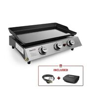 Table Top Griddle Portable Flat Top Grill Outdoor Cooking Bbq Gas Cooktop New