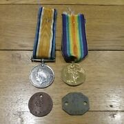 Nice Ww1 Pair And Dog Tags To - M-315692 Private B.j.taylor Army Service Corps